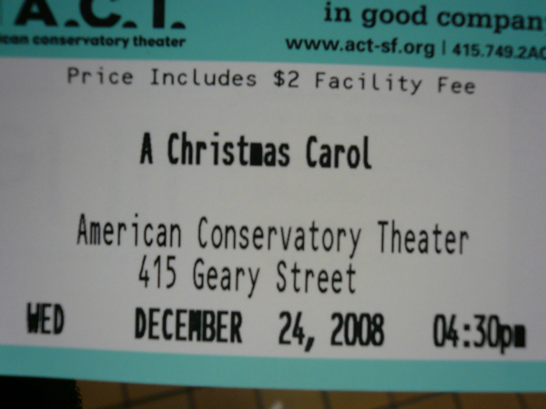 A Christmas Carol Ticket